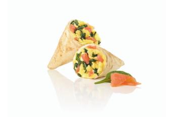 Mini Wrap Salmon Egg mit Spinat und Lachs gefüllt