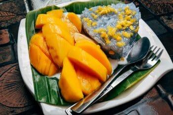 Mango Sticky Rice thailändischer süßer Snack