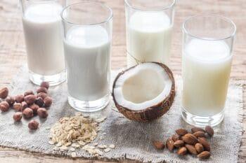 Milchalternativen mit Kokos, Mandel, Haselnuss und Hafer