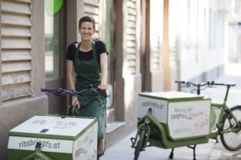 Fahrrad mit Take Away Lieferung