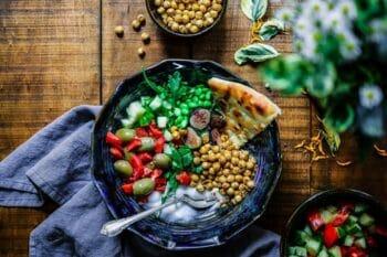 Bowl mit Salat Kichererbsen