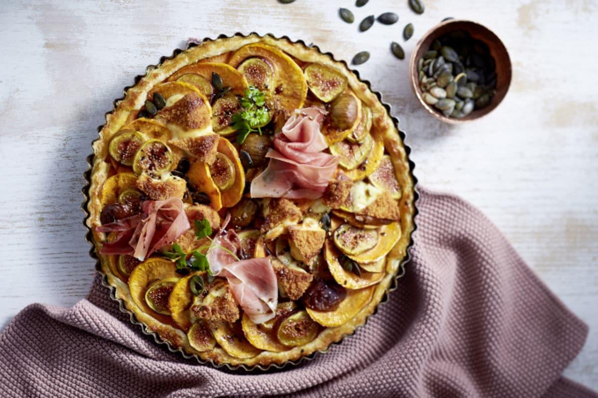 Rezept Alpenhain Back-Camembert auf Blätterteig-Süßkartoffel-Tarte / snackconnection