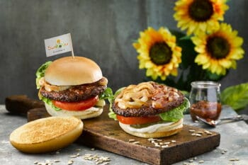 veganer Burger mit Sonnenblumenhack von Yummy streetfood snackconnection