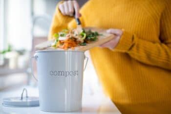 Mensch schmeißt Lebensmittelreste in Eimer zu Hause in der Küche / snackconnection