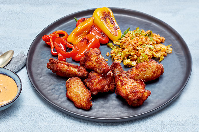 Buffalo Chicken Wings mit Couscous