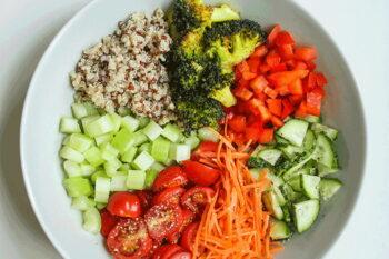 Aufteilung einer Bowl zum Essen / snackconnection