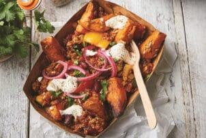 Vegetarischen Chilli sin Carne Süßkartoffel WedgesC