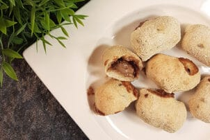 Süße Schoko-Pizzateig Dumplings