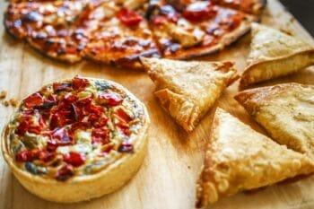 Quiche Pizza Teigecken Paprika